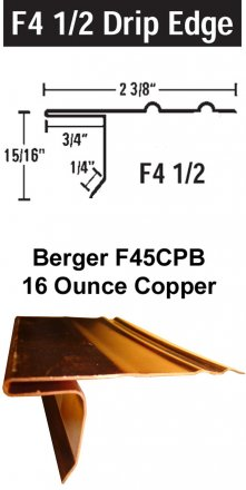 Berger Model F45CPB Copper Drip Edge, 200 Lineal Feet Carton sold at the Slate Roof Warehouse.