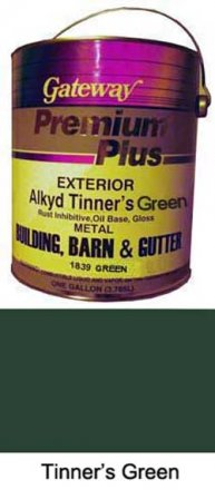 Paint for Roofers - Tinners Green - 4 Gallon Case sold at the Slate Roof Warehouse.